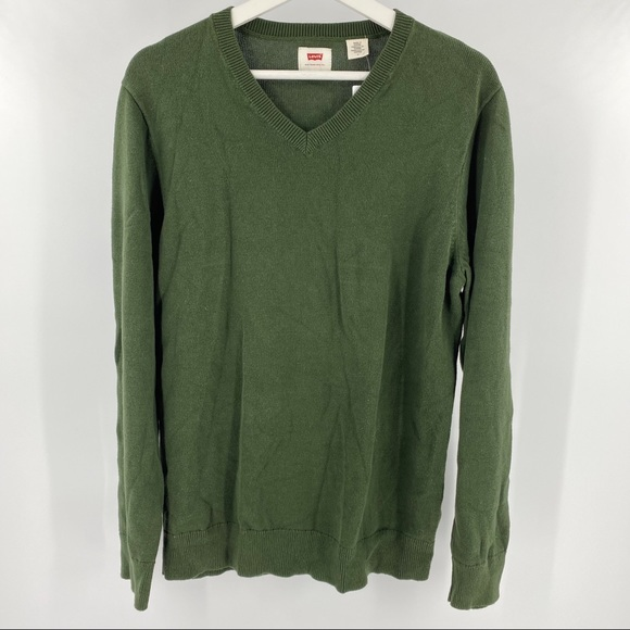 Levi's army green v neck long sleeve sweater